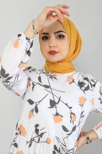 Çiçek Desenli Elbise TSD4408 Hardal - Thumbnail
