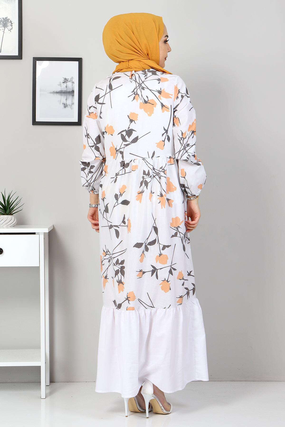 Çiçek Desenli Elbise TSD4408 Hardal