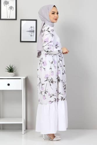 Çiçek Desenli Elbise TSD4408 Lila - Thumbnail
