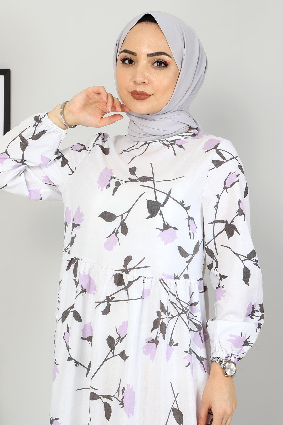 Çiçek Desenli Elbise TSD4408 Lila