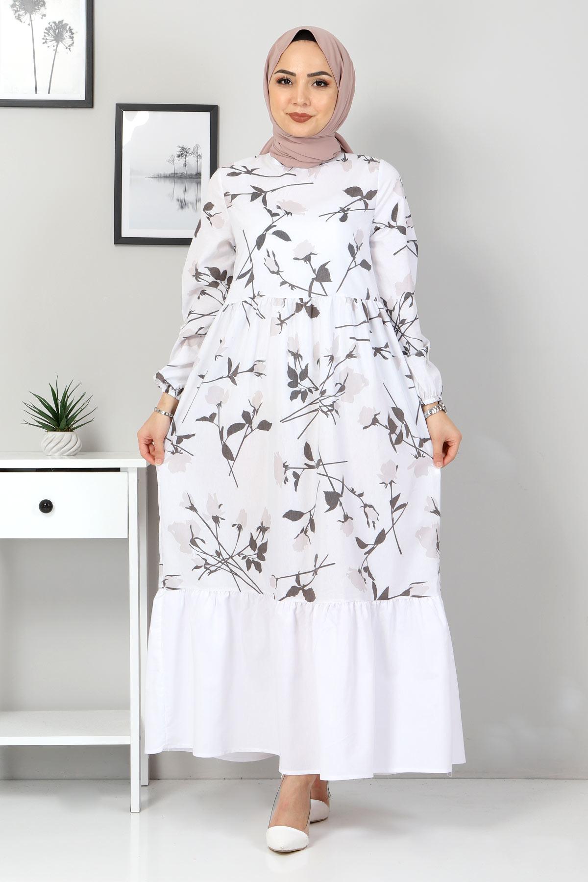 Çiçek Desenli Elbise TSD4408 Vizon