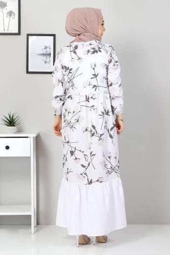Çiçek Desenli Elbise TSD4408 Vizon - Thumbnail