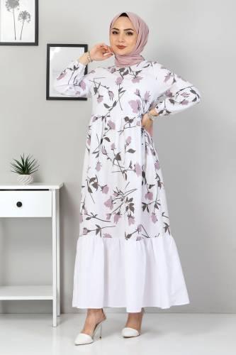 Çiçek Desenli Elbise TSD4408 Gül Kurusu - Thumbnail