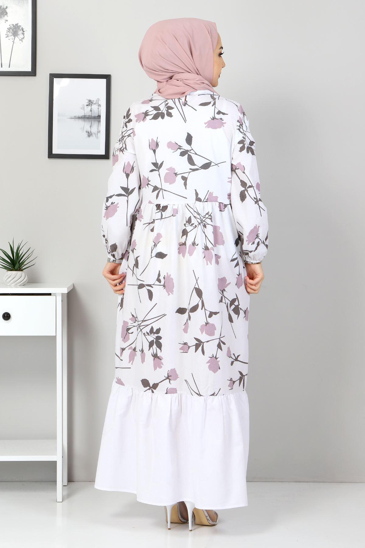 Çiçek Desenli Elbise TSD4408 Gül Kurusu