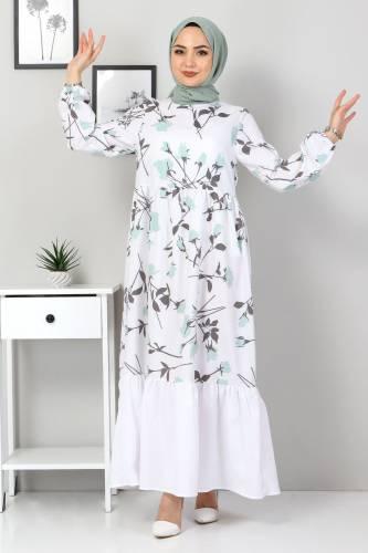 Tesettür Dünyası - Çiçek Desenli Elbise TSD4408 Mint Yeşili