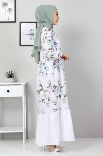 Tesettür Dünyası - Çiçek Desenli Elbise TSD4408 Mint Yeşili (1)