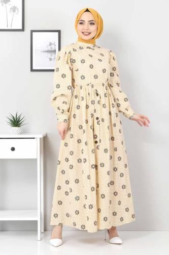 Tesettür Dünyası - Çiçek Desenli Pöti Kareli Elbise TSD4743 Hardal