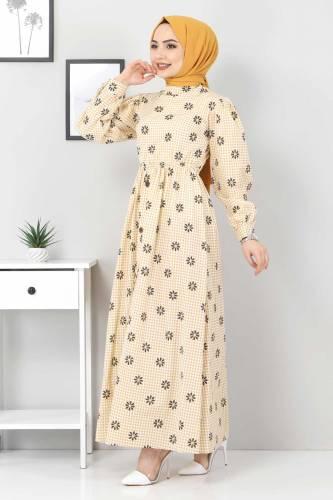 Tesettür Dünyası - Çiçek Desenli Pöti Kareli Elbise TSD4743 Hardal (1)