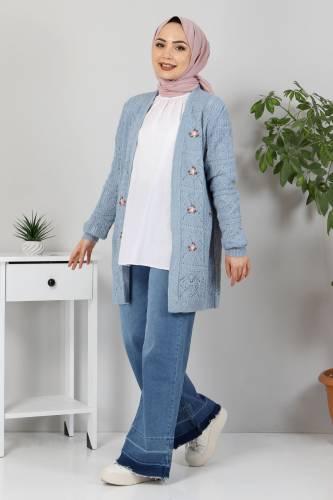 Çiçek Nakışlı Triko Hırka TSD10104 Kot Mavisi - Thumbnail