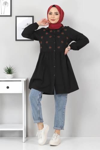 Tesettür Dünyası - Çiçek Nakışlı Tunik TSD1836 Siyah (1)