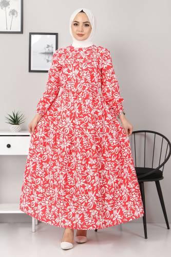 Tesettür Dünyası - Floral Flared Dress TSD4415 Red