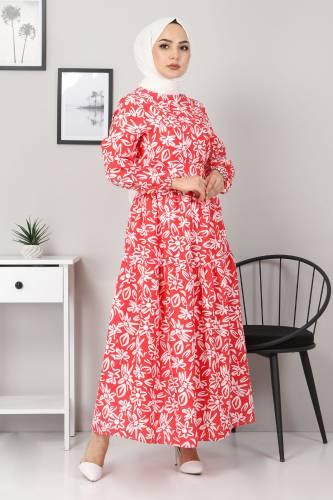 Tesettür Dünyası - Floral Flared Dress TSD4415 Red (1)