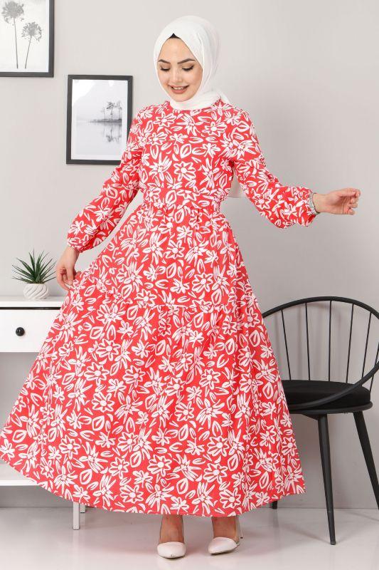 Çiçekli Kloş Elbise TSD4415 Kırmızı