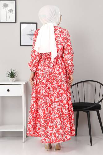 Çiçekli Kloş Elbise TSD4415 Kırmızı - Thumbnail