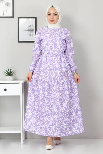 Çiçekli Kloş Elbise TSD4415 Lila - Thumbnail
