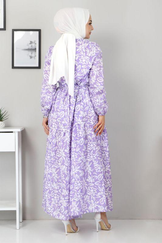 Çiçekli Kloş Elbise TSD4415 Lila