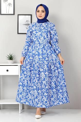 Tesettür Dünyası - Floral Flared Dress TSD4415 Blue