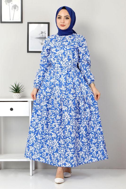 Çiçekli Kloş Elbise TSD4415 Mavi