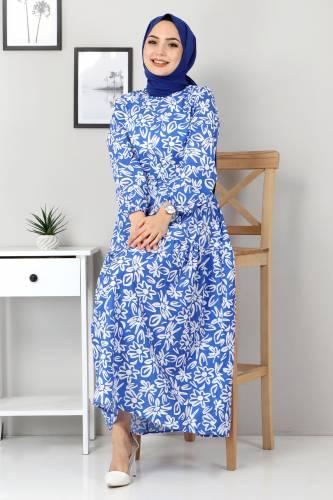Tesettür Dünyası - Floral Flared Dress TSD4415 Blue (1)