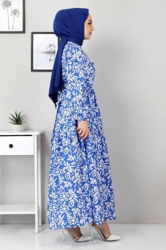 Çiçekli Kloş Elbise TSD4415 Mavi - Thumbnail