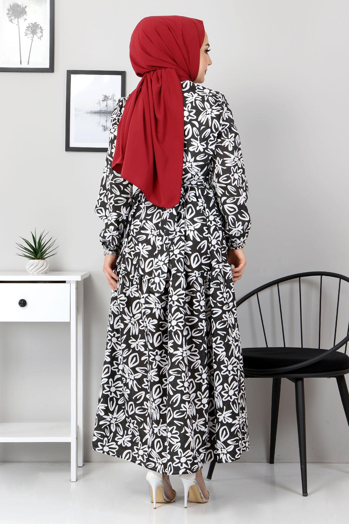 Çiçekli Kloş Elbise TSD4415 Siyah