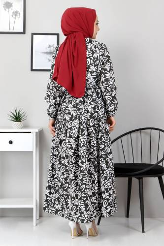 Çiçekli Kloş Elbise TSD4415 Siyah - Thumbnail