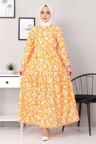 Tesettür Dünyası - Floral Flared Dress TSD4415 Orange