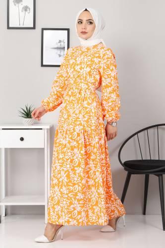 Tesettür Dünyası - Floral Flared Dress TSD4415 Orange (1)