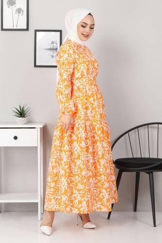 Çiçekli Kloş Elbise TSD4415 Turuncu - Thumbnail