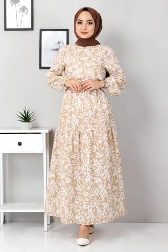 Tesettür Dünyası - Floral Flared Dress TSD4415 Dark Beige