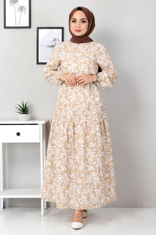 Çiçekli Kloş Elbise TSD4415 Vizon