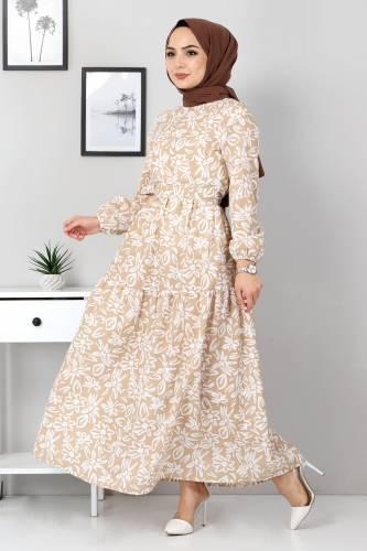 Tesettür Dünyası - Floral Flared Dress TSD4415 Dark Beige (1)