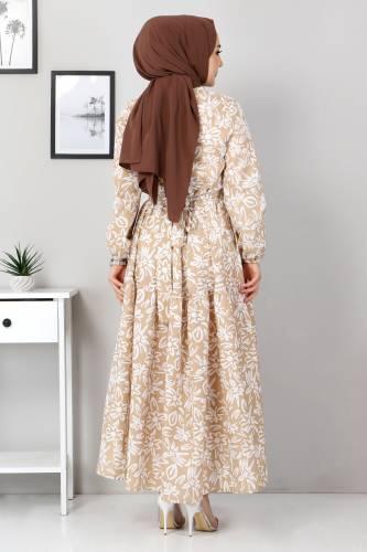 Çiçekli Kloş Elbise TSD4415 Vizon - Thumbnail
