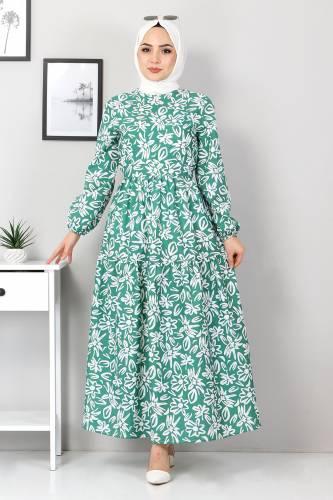 Tesettür Dünyası - Floral Flared Dress TSD4415 Green