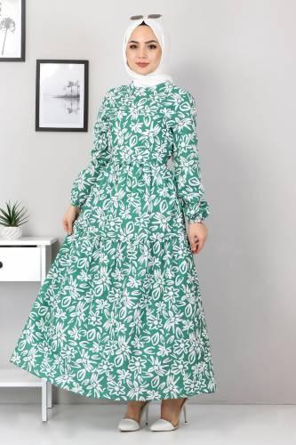Tesettür Dünyası - Floral Flared Dress TSD4415 Green (1)