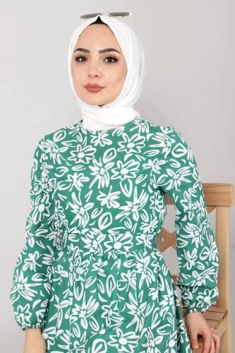 Çiçekli Kloş Elbise TSD4415 Yeşil - Thumbnail