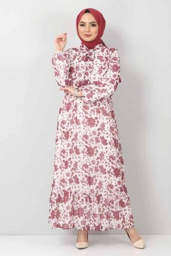 Tesettür Dünyası - Çiçekli Şifon Elbise TSD21103 Mürdüm