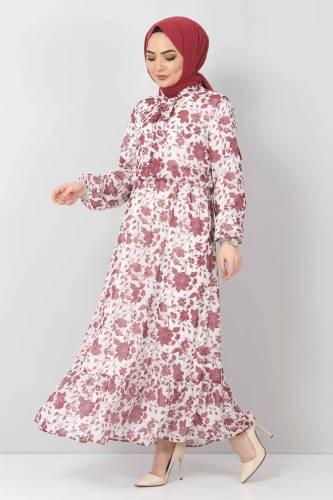 Tesettür Dünyası - Çiçekli Şifon Elbise TSD21103 Mürdüm (1)