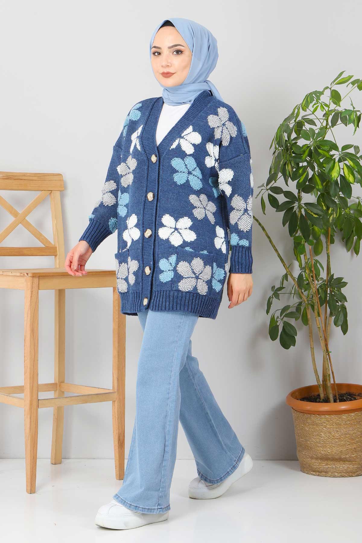 Çiçekli Triko Hırka TSD2577 İndigo