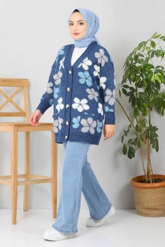 Çiçekli Triko Hırka TSD2577 İndigo - Thumbnail