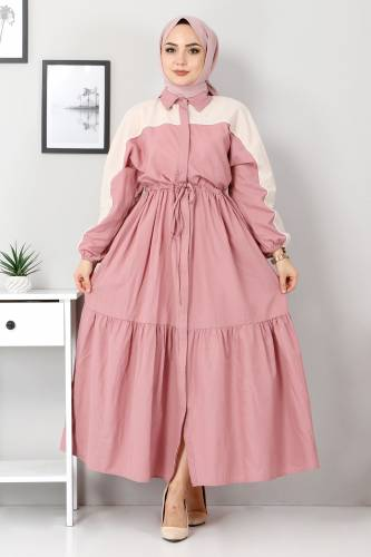 Tesettür Dünyası - Double Color Dress TSD4416 Dried Rose