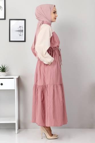 Tesettür Dünyası - Double Color Dress TSD4416 Dried Rose (1)