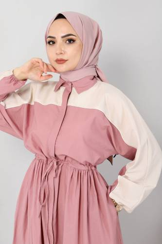 Çift Renkli Elbise TSD4416 Gül Kurusu - Thumbnail