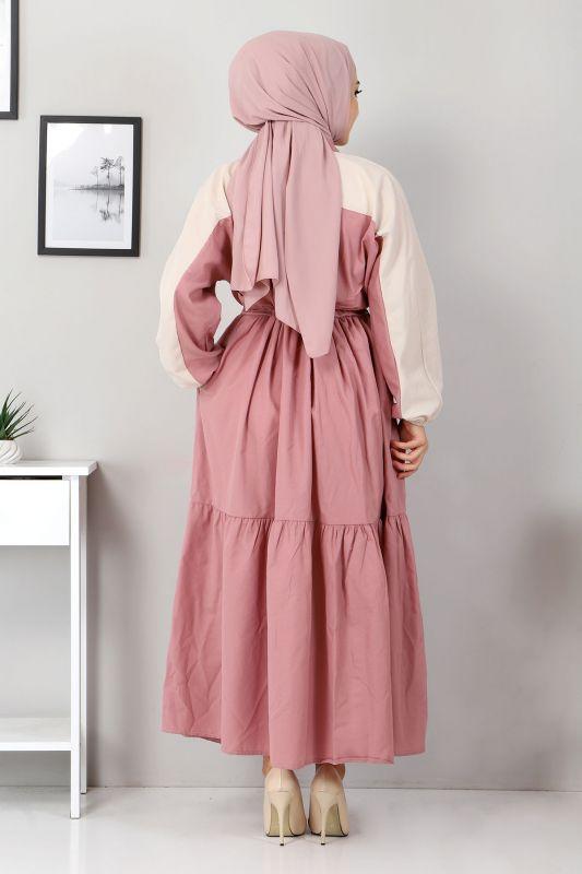 Çift Renkli Elbise TSD4416 Gül Kurusu