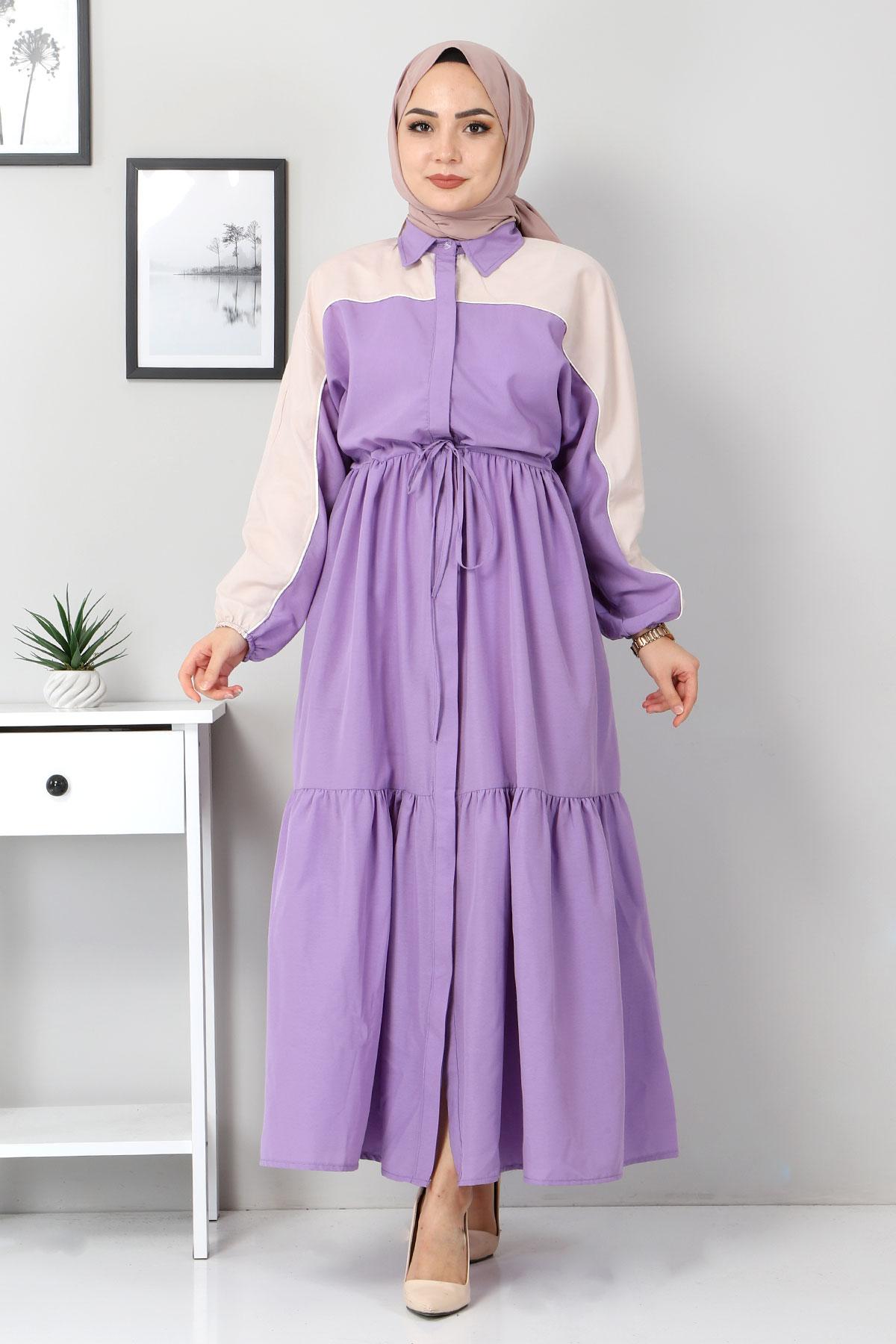 Çift Renkli Elbise TSD4416 Lila