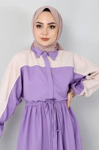 Çift Renkli Elbise TSD4416 Lila - Thumbnail