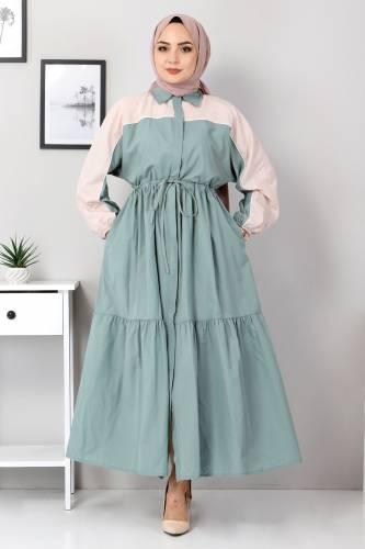Tesettür Dünyası - Two Color Dress TSD4416 Mint Green