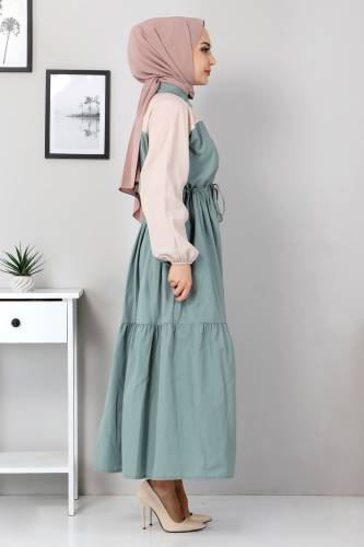 Tesettür Dünyası - Two Color Dress TSD4416 Mint Green (1)