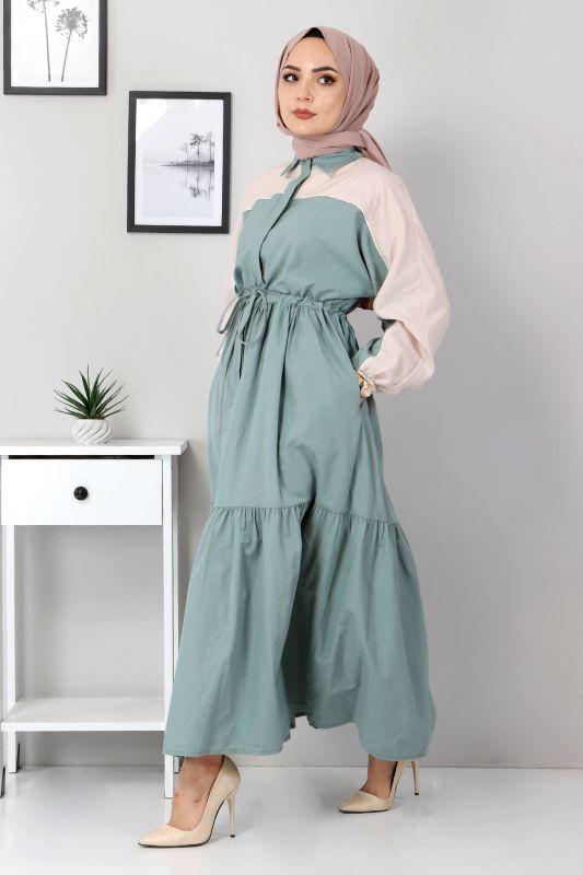 Çift Renkli Elbise TSD4416 Mint Yeşili