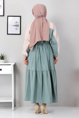 Çift Renkli Elbise TSD4416 Mint Yeşili - Thumbnail